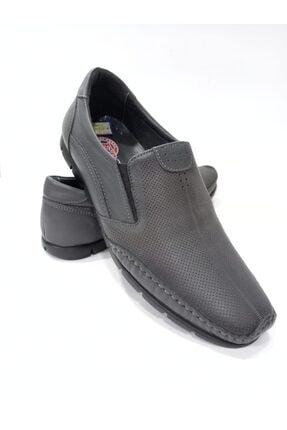 134 Hakiki Deri Taban Kauçuk Gri Erkek Günlük Ayakkabı KEE100