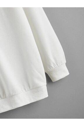 cartoonsshop Unisex Beyaz Düz Basic Sweatshirt 1