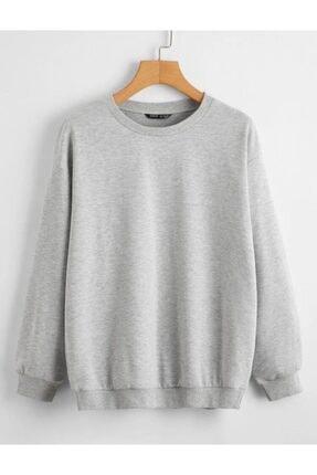 cartoonsshop Unisex Gri Düz Basic Sweatshirt 0