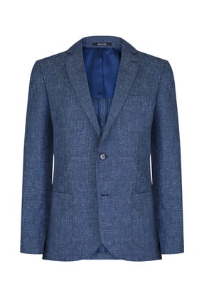 W Collection Erkek Petrol Mavi Jakarlı Ceket 0