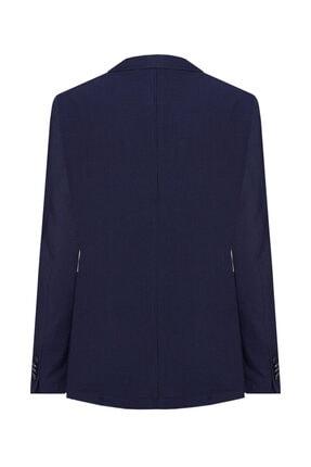 W Collection Erkek Lacivert Mavi Çizgili Blazer Ceket 2