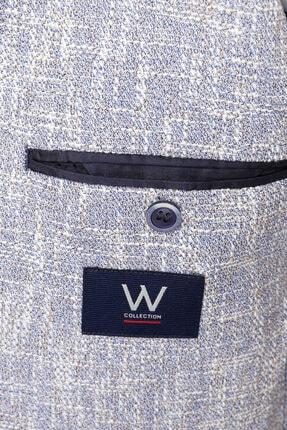 W Collection Erkek Mavi Bayaz Desenli Ceket 2