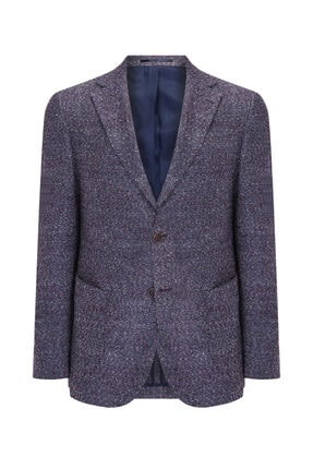 W Collection Erkek Gri Bordo Bukle Blazer Ceket 0