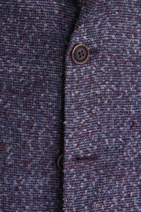 W Collection Erkek Gri Bordo Bukle Blazer Ceket 3