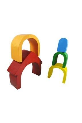 Arda Ahşap Oyuncak Ahşap Waldorf Canlı Renkli Ev Eğitici Bloklar 3