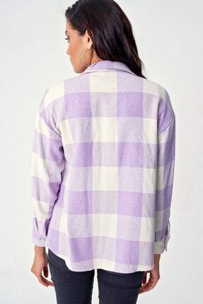 Bigdart Kadın Mor Ekose Desen Çift Cepli Gömlek 4