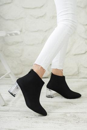 Moda Değirmeni Kadın Siyah Dalgıç Bot Şeffaf Topuk Bot Md1050-116-0001 0