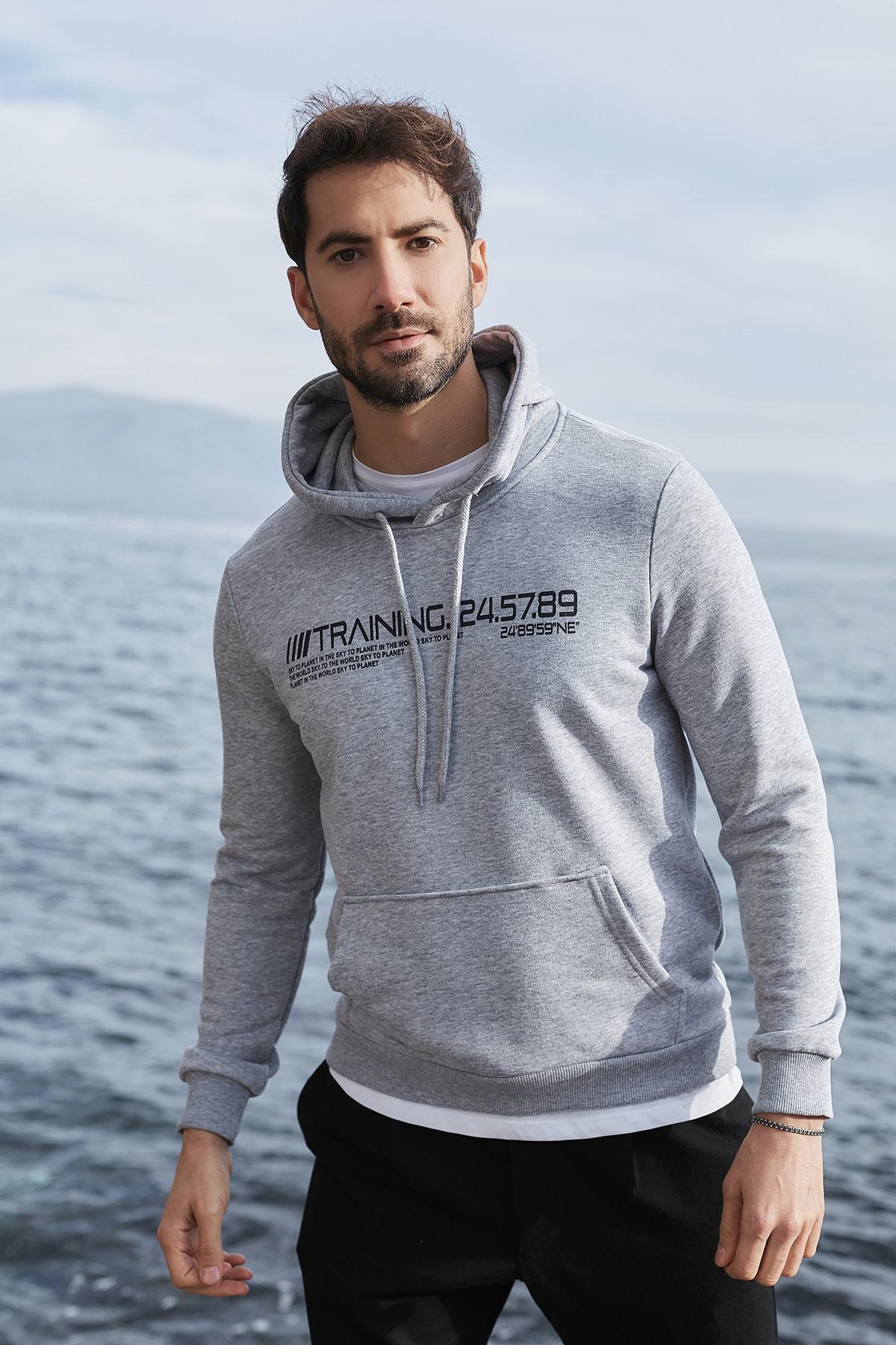 Erkek Gri Pamuklu Regular Fit Baskılı Kapüşonlu Kanguru Cepli Sweatshirt 5821905