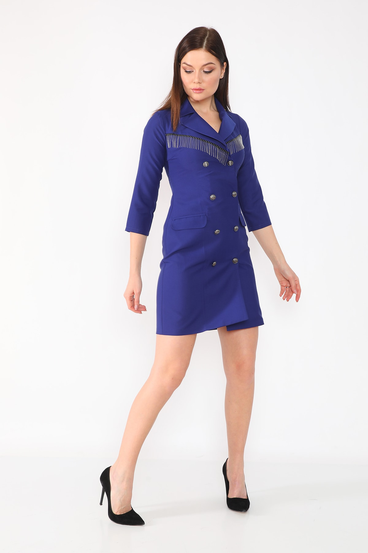 etselements Göğüs Zincir Detaylı Düğme Kapama Ve Sahte Cepli Kruvaze Yaka Elbise