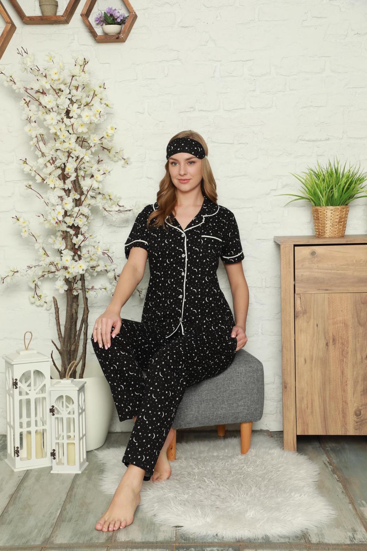 SEBOTEKS Kadın Düğmeli Ince Penye Pamuklu Pijama Takımı
