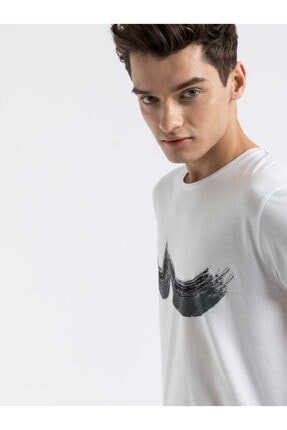 Ltb Erkek  Beyaz  Baskılı  Kısa Kol Bisiklet Yaka T-Shirt 012198454469830000 1