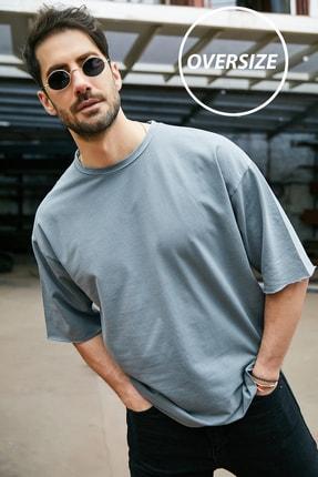 Sateen Men Erkek Antrasit Yıkamalı Oversize T-Shirt 1