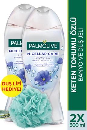 Palmolive Micellar Care Keten Tohumu Özlü Micellar Su Ile Banyo Ve Duş Jeli 2x500ml+ Duş Lifi Hediye 0