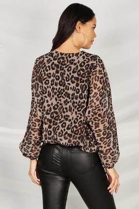 Select Moda Kadın Leopar Desen V Yaka Beli Lastikli Bluz 2