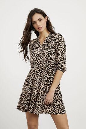 Arma Life Kadın Kahverengi Kruvaze Kaşkorse Elbise 0