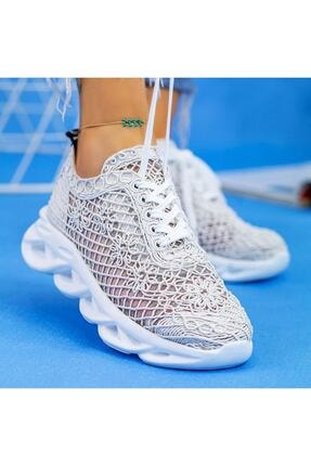 Beyond  Kadın Beyaz Dantelli Bağcıklı Yumuşak Ortopedik Taban Sneaker 2