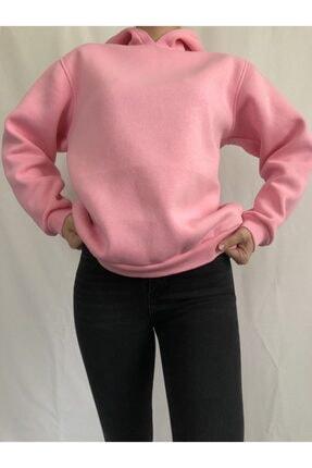 alyeonline Kadın Pembe Basic Sweatshirt 2