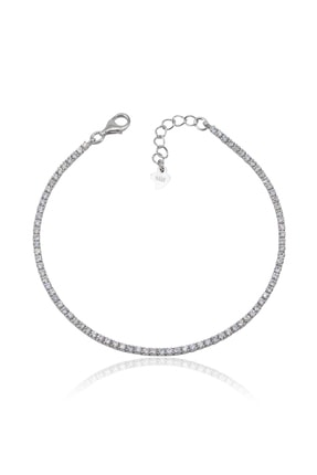 Ventino Silver Beyaz Zirkon Taşlı Su Yolu Kadın Gümüş Bileklik Vkb-6511 3
