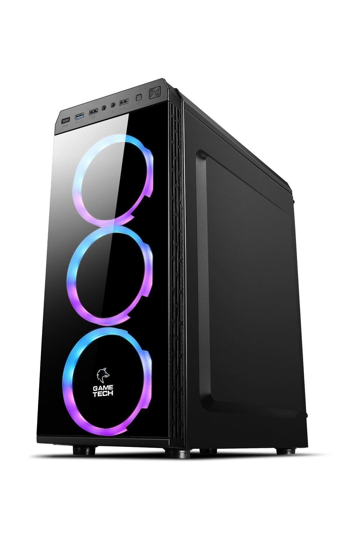 GAMETECH Gt-001 6x120mm Rainbow Fanlı Gaming Oyuncu Bilgisayar Kasası Psu Yok