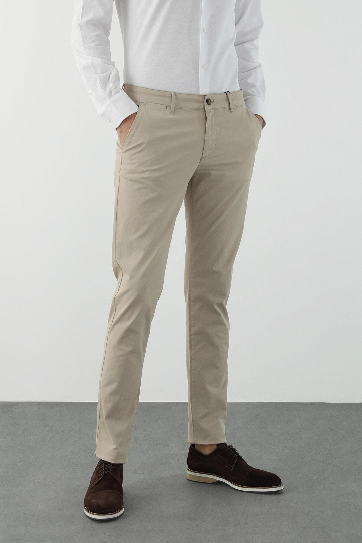Erkek Slim Fit Bej Normal Bel Casual Pantolon 1078149