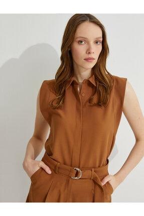 Koton Kadın Kahverengi Kolsuz Gömlek 1