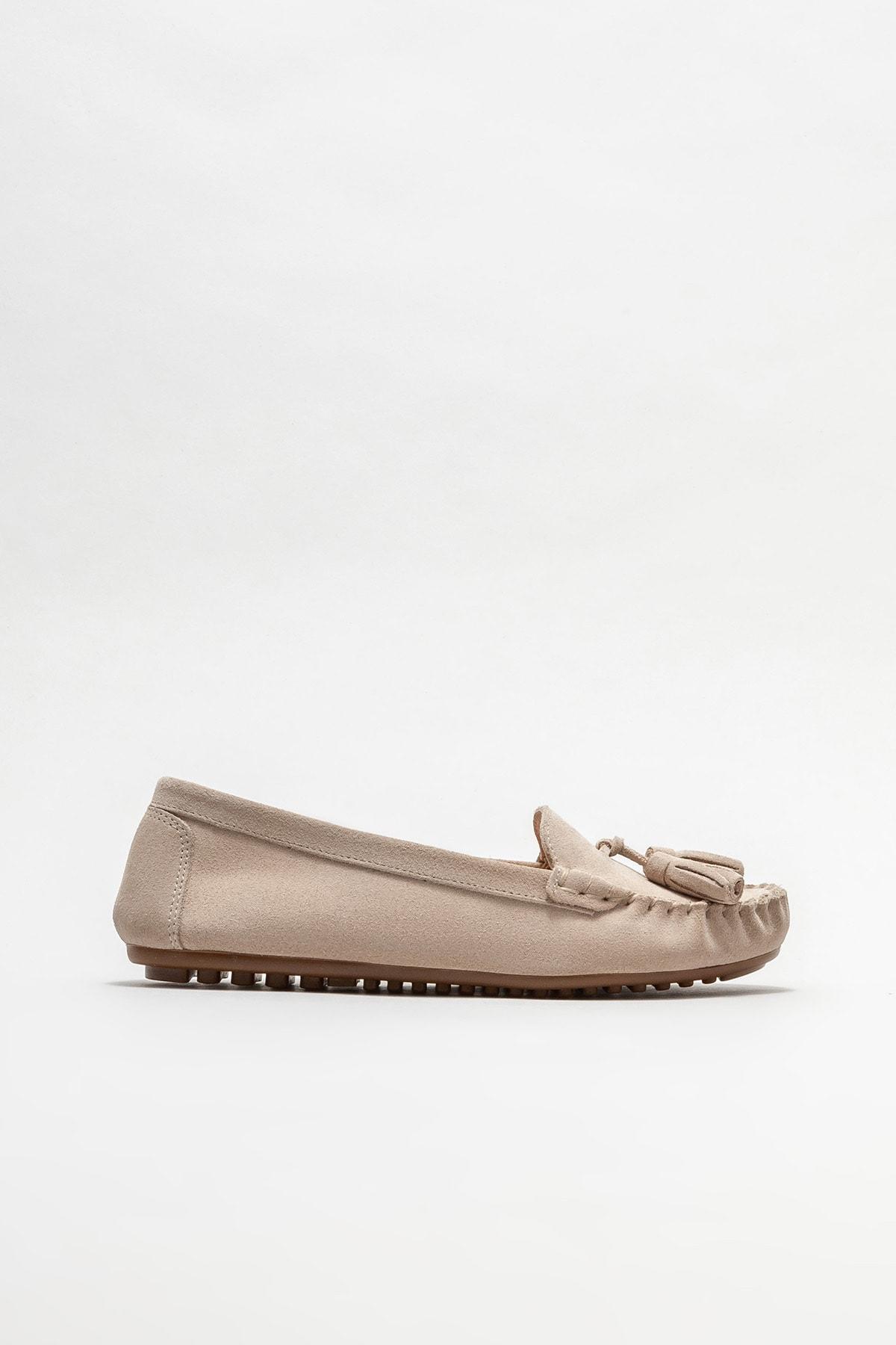 Kadın Bej Deri Loafer