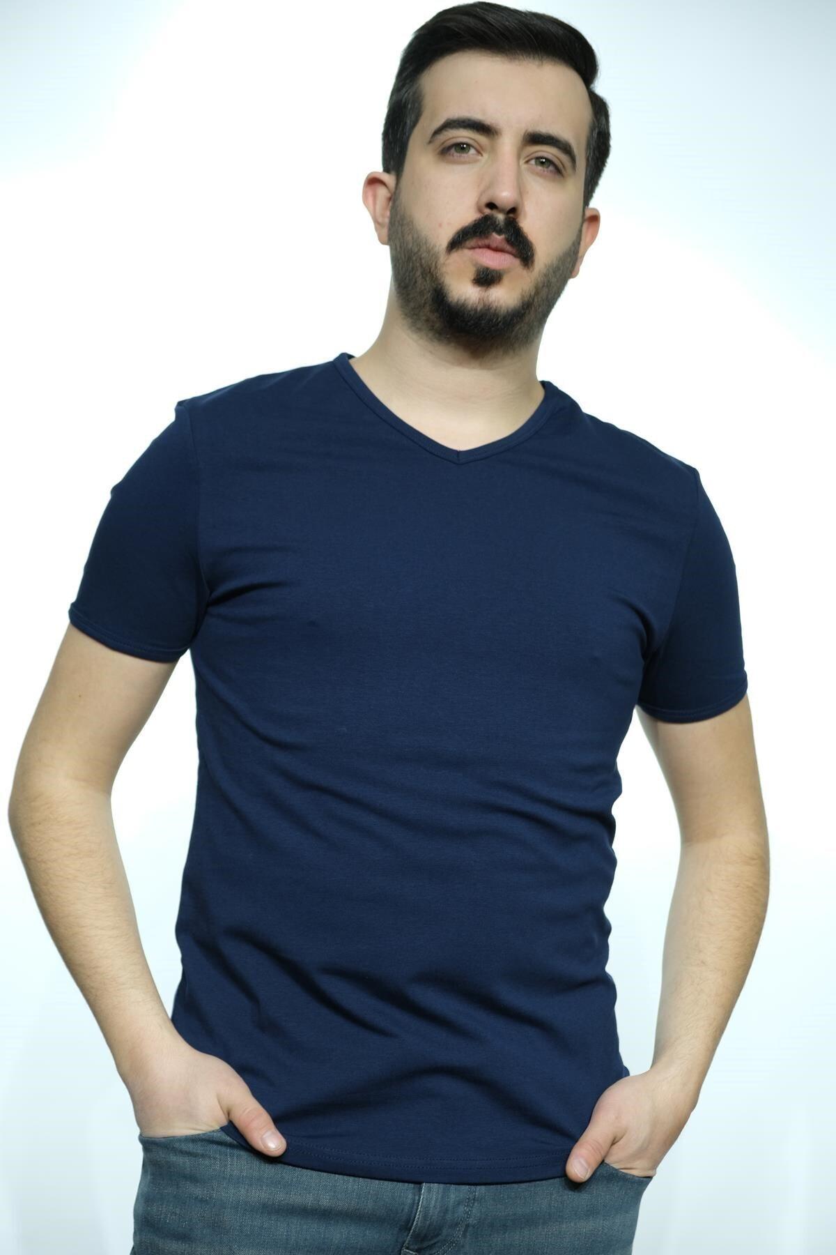 Erkek Lacivert V Yaka Saten Kumaş T-Shirt 4619
