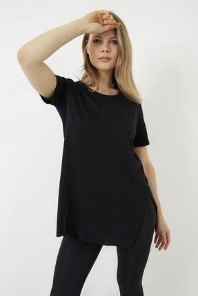 Vis a Vis Kadın Siyah Yanları Yırtmaçlı Uzun T-shirt 2