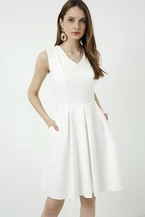 Vis a Vis Kadın Beyaz Kolsuz Kloş Elbise 0
