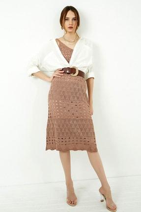 Vis a Vis Kadın Tarçın Askılı Merserize Kroşe Elbise 0