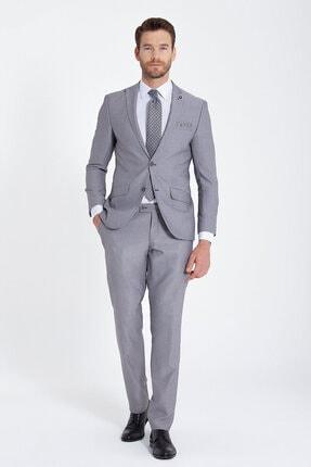 Erkek Gri Desenli Slim Fit Takım Elbise resmi