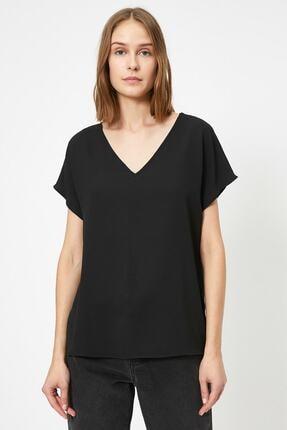 Koton Kadın Siyah V Yaka Bluz 2