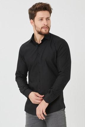 Cosmen Erkek Siyah Slim Fit Düz Gömlek 0
