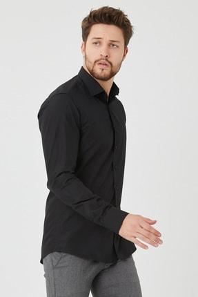 Cosmen Erkek Siyah Slim Fit Düz Gömlek 2