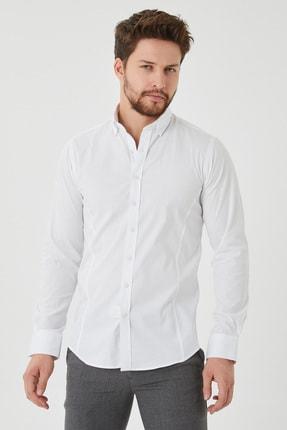 Cosmen Erkek Beyaz Slim Fit Poplin Likralı Gömlek 0