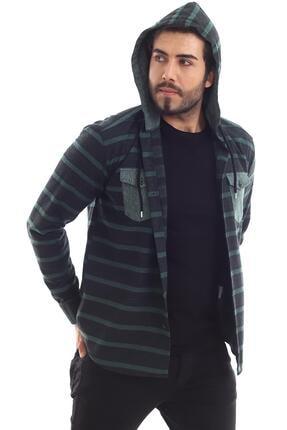 ALTEGRO Erkek Siyah Oduncu Kapüşonlu Rahat Slim Fit Gömlek 4