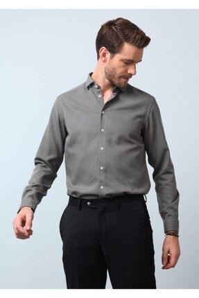 Ramsey Erkek Haki Dokuma Uzun Kollu Gömlek 2