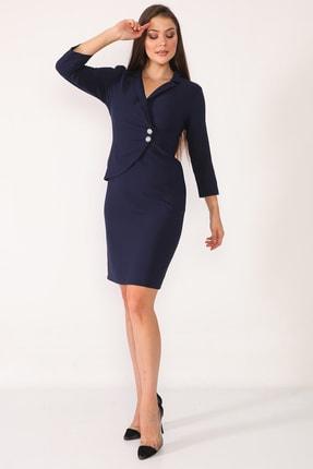 Element's Kadın Lacivert Kruvaze Yaka Ve Ön Kısmı Düğme Detaylı Ofis Elbise 3