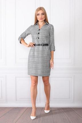 etselements Kadın Gri Göğüsten Düğme Ve Kuşak Detaylı Ofis Elbise 0