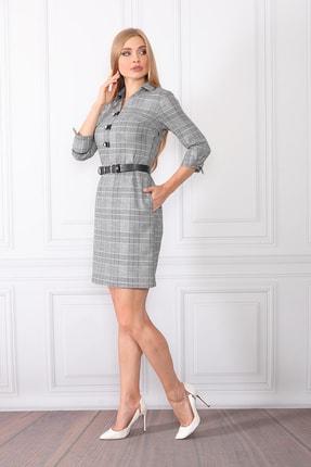 etselements Kadın Gri Göğüsten Düğme Ve Kuşak Detaylı Ofis Elbise 1