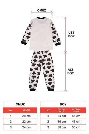 zepkids Unisex Çocuk Bej İnek Baskılı Pijama Takımı 2