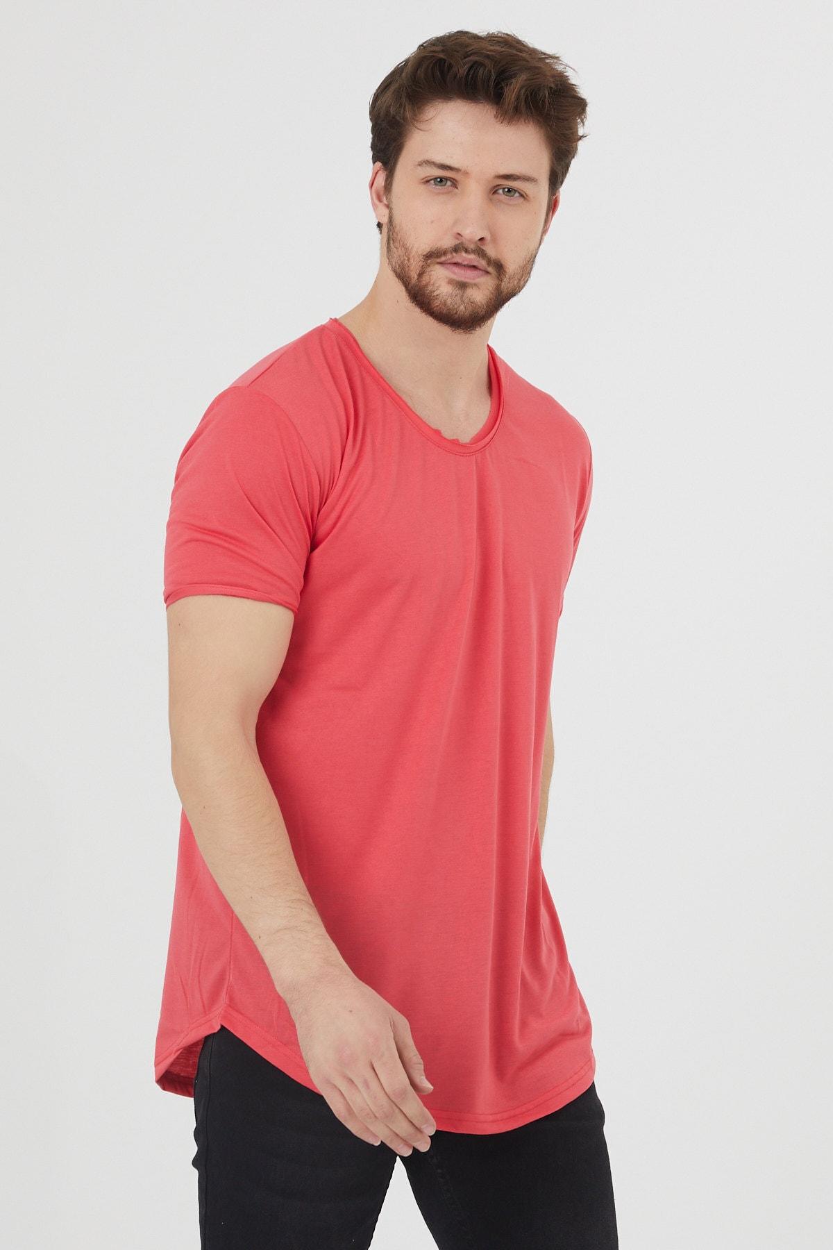 Erkek Koyu Nar Kısa Kol Salaş T-shirt