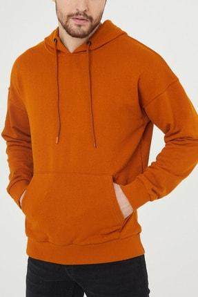 XHAN Turuncu Kanguru Cepli Kapüşonlu Sweatshirt 1kxe8-44398-11 1
