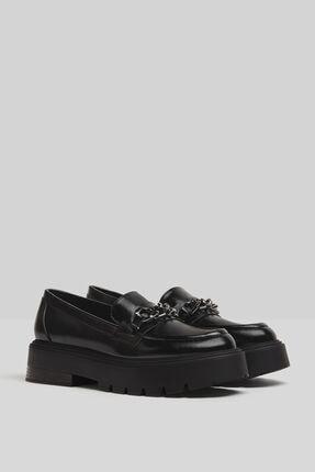Bershka Kadın Siyah Zincirli Makosen Oxford Ayakkabı 0