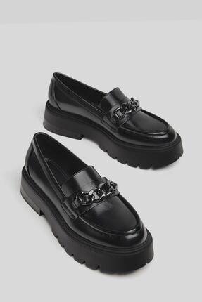 Bershka Kadın Siyah Zincirli Makosen Oxford Ayakkabı 1