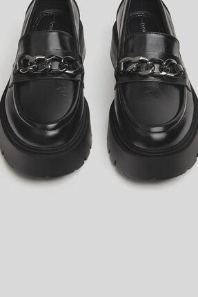 Bershka Kadın Siyah Zincirli Makosen Oxford Ayakkabı 3