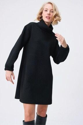 butikburuç Kadın Siyah Degaje Yaka Kısa Elbise 2