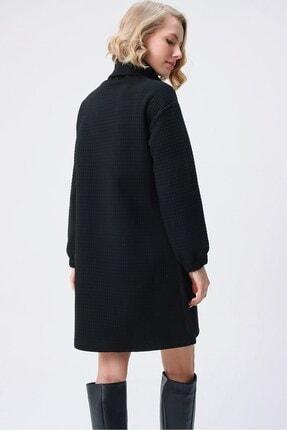 butikburuç Kadın Siyah Degaje Yaka Kısa Elbise 4