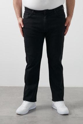 Erkek Siyah Regular Fit Pamuklu Büyük Beden Kot Pantolon 7280s965jeff resmi