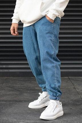 Modayı Tıkla Erkek Mavi Oversize Boyfriend Paçası Cırt Cırtlı Jogger Kot Pantolon 1